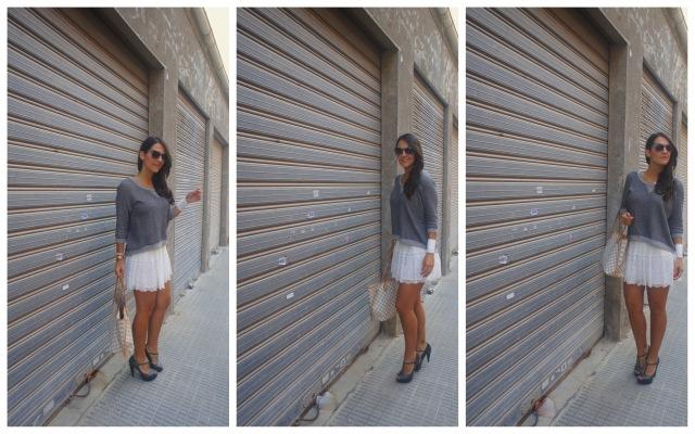 Post falda blanca y jersey gris apiesjuntillas.com