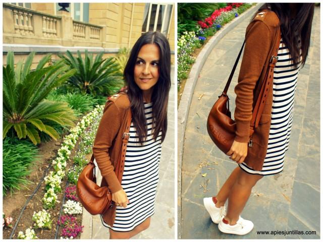 Gabardina y vestido de rayas-001