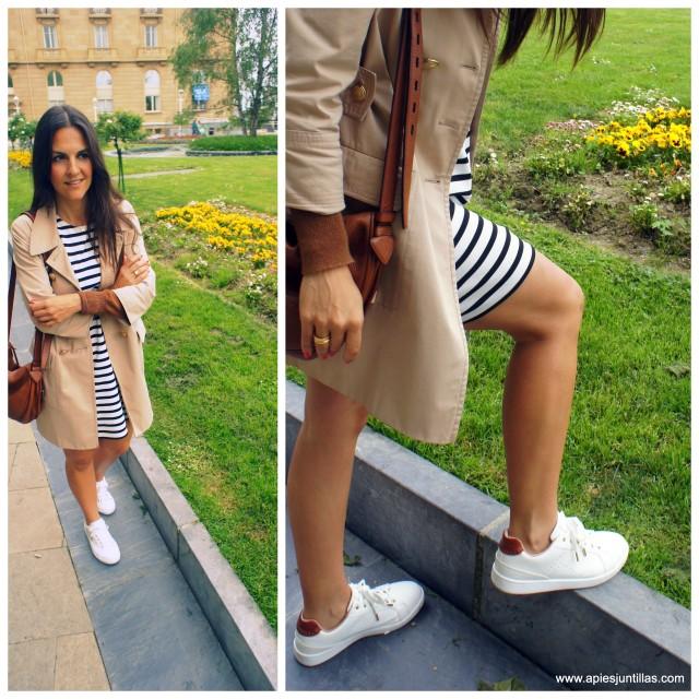 Gabardina y vestido de rayas
