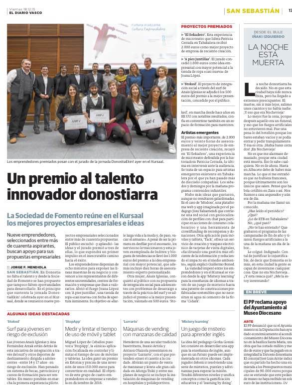 Idea empresarial con mayor potencial A pies juntillas Concurso Ekin Fomento San Sebastian